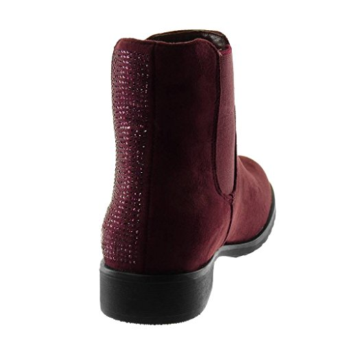 Angkorly Chaussure Talon Bloc on Bordeaux 3 Slip Diamant Bottine Strass Femme Élastique Chelsea Boots Mode Cm RSWHrnR