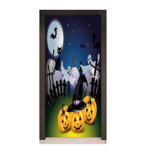 Halloween 3D Murals Wall Stickers Funny Cartoon Design with Pumpkins Witches Hat Ghosts Graveyard Full Moon Cat for Bedroom Decoration Multicolor,W23xH70 -