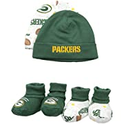 NFL Green Bay Packers Print Cap & Bootie Set(4 Pack), 0-6 Months, Green