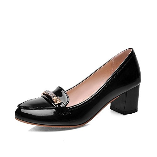 Pull On Kitten Closed WeenFashion Patent Toe Pointed Shoes Leather Heels Black Solid Pumps Women's wqFgz