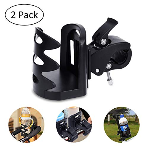 YoungRich 2 PCS Bike Water Bottle Holder Water Bottle Cages Adjustable Clip Stretchable Rack Easy to Install Universal Lightweight for Road Mountain Bike Cycling Travelling Climbing Hiking Black by YoungRich