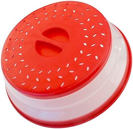 Collapsible Microwave Food Cover BPA free TPR, 10.5inch, round with grip handle, Red