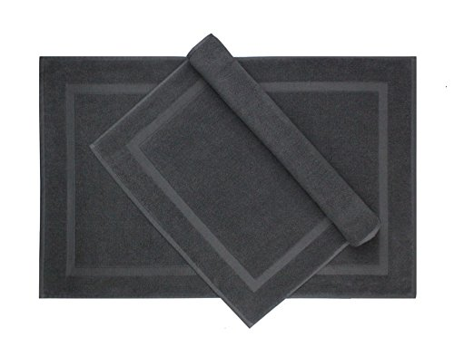 Cotton Craft  2 Pack Luxury Bath Mat  Charcoal  100% Ringspun Cotton  Oversized 21x34  Heavy Weight 1000 Grams  2 Ply Construction  Highly Absorbent  Soft Underfoot Easy Care Machine Wash