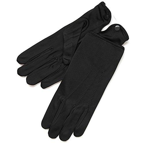 ZaZa Bridal White & Black Nylon Formal Men's Gloves with Snap Closure-Men's Size -