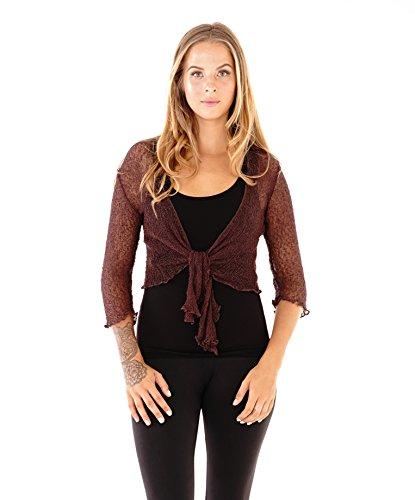 SHU-SHI Womens Sheer Shrug Tie Top Cardigan Lightweight Knit,Brown,One Size ()