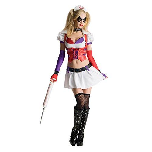 LanLan Sexy Harley Quinn Arkham City Asylum Nurse Cosplay Halloween (Harley Quinn Arkham City Halloween Costume)