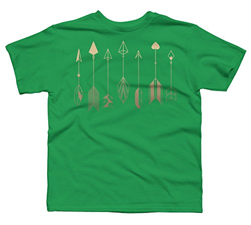 Be Brave Little Arrow (gold) Boy's Large Kelly Green Youth Graphic T Shirt (Cupid Bow And Feathers)