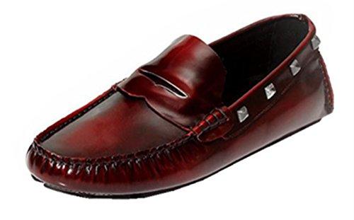 Happyshop (tm) Uomo In Vera Pelle Lucidatura Colore Slip-on Driving Mocassino Flats Rosso Vino