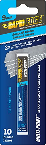 Rapid Edge All-Purpose 9mm Serrated Snap-off Utility Knife Blades (10 Blades), 1 Pack