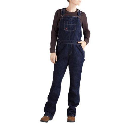 Dickies Women's Relaxed Fit Straight Leg Bib Overall Work Pants, Dark Indigo Black, S