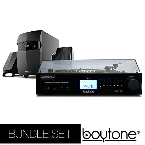 (Boytone Bundle set Fully Automatic Bluetooth Turntable + 2.1 Multimedia Speaker, S-Shaped Tone Arm, Adjustable Counterweight & pitch control, AM/FM, Cassette, CD Player USB, SD (BT-11B + BT-3685F))