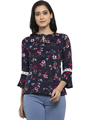 Addx Women Casual Bell Sleeve Floral Print Blue Top