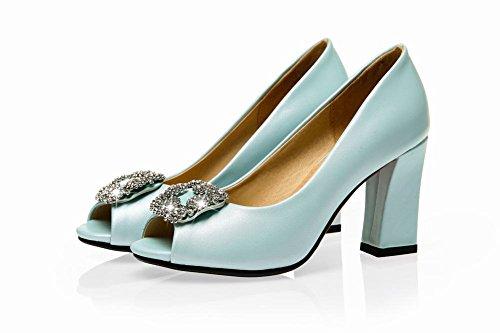 MissSaSa Damen Chunky high-heel Peep-toe Low-cut Pumps mit Strass modern und elegant Blockabsatz high-heel Kleidschuhe Blau