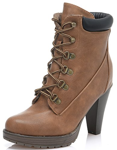 DREAM PAIRS Women's Fashion Ankle Lace Up Fur Interior Chunky Heel Platform Combat Boot Booties