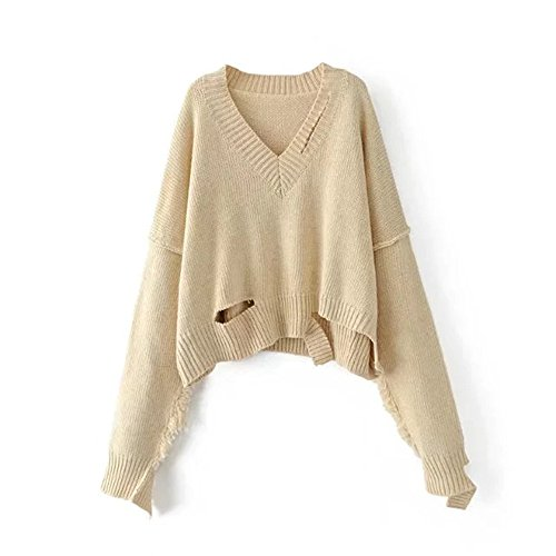 Color Beige Knitting Collar QXH Women's V Solid Sweaters Loose Long sleeve 7aazxvq