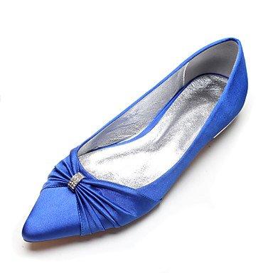 Satin Blue UK4 Bowknot Dress Comfort Women'S Spring EU36 US6 Ruby Evening amp;Amp; Heelivory CN36 Flat Rhinestone Wedding Champagne Party RTRY Wedding Shoes Summer AwqI11Tf