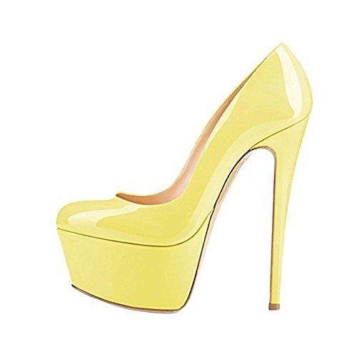 Large Fine yellow base 40414243444546 Casual donna Pompa Size Testa Piattaforma Nero Scarpe 41 YWNC alto PU Vera tacco con Donna pelle da singole di Tondo gqUnxvFI