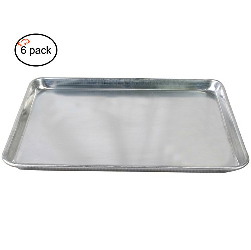 Tiger Chef Full Size Aluminum Sheet Pan - Commercial Bakery Equipment Cake Pans - NSF Approved 6 Pack (6, 18 x 26 Full Size)