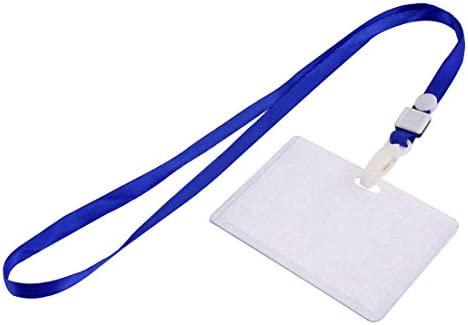 Plástico A1 Lanyard insignia de identificación Tarjeta Estuche Bolsillo Correa Para El Cuello Transparente