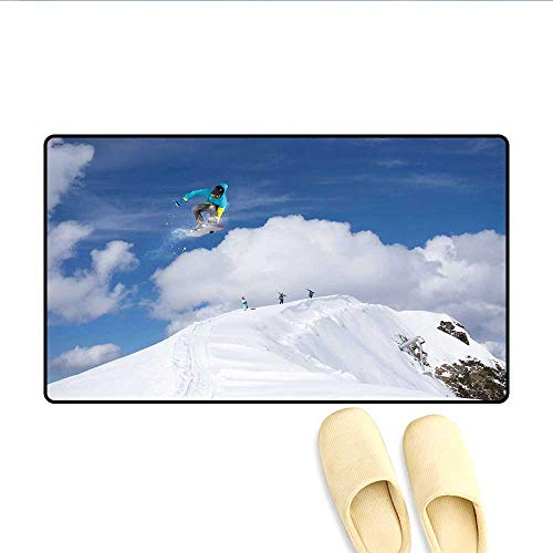 (Doormat Flying Snowboarder on The Mountaintop with Cloudy Sky Extreme Sports Theme Photo Bath Mats Carpet Blue White)