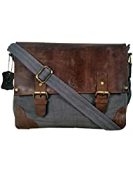 Cuero 14 Canvas Leather Messenger Shoulder Leather Bag Satchel Leather Bag for Mens and Women