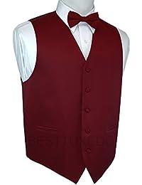 Italian Design, Men's Tuxedo Vest, Bow-Tie & Hankie Set in Burgundy