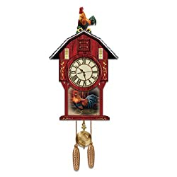 Barnyard Strut Rooster Art Cuckoo Clock by The Bradford Exchange
