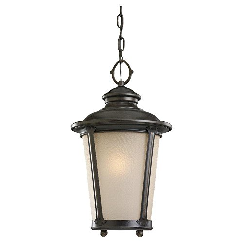 - LED Cape May Outdoor Pendant in Burled Iron Finish with Etched Amber Tint Hammer