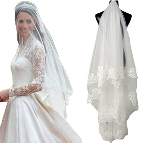 Cheap Accessories (SI PEI One Layer Bridal Veils Color White and Ivory wedding Accessories (White))