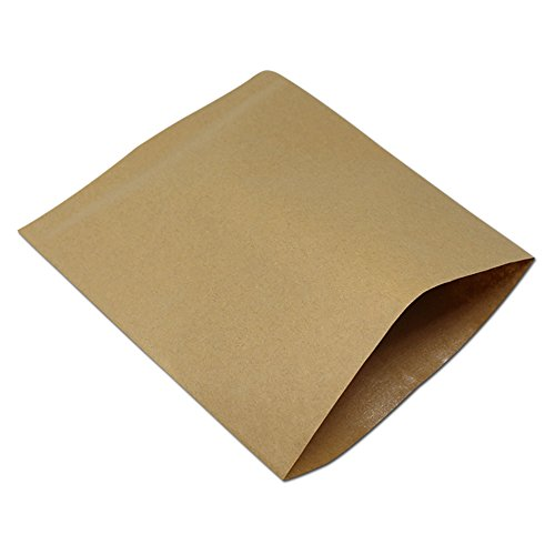 Brown Kraft paper Oil Proof Paper Baking Toast Bread Food Packaging Pouch Anti-Oil Craft Paper Flat Merchandises Bags for Sandwich Hamburger French Fries Wrapper (100, 5.1x5.9 inch)