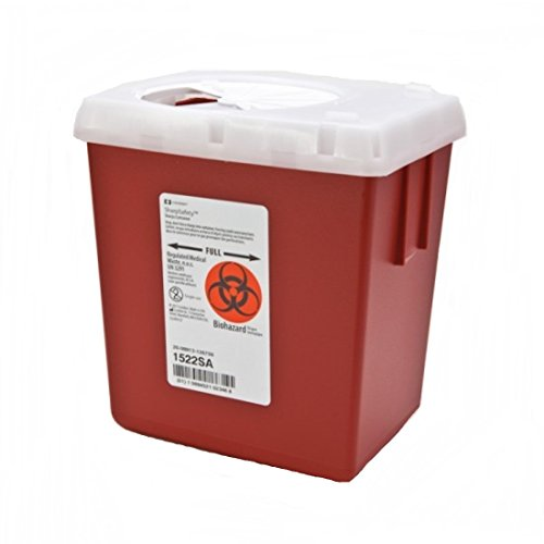 SharpSafety AutoDrop Phlebotomy Sharps Container 2.2 Quart, Red Base, Vertical Entry Lid - 1/Each