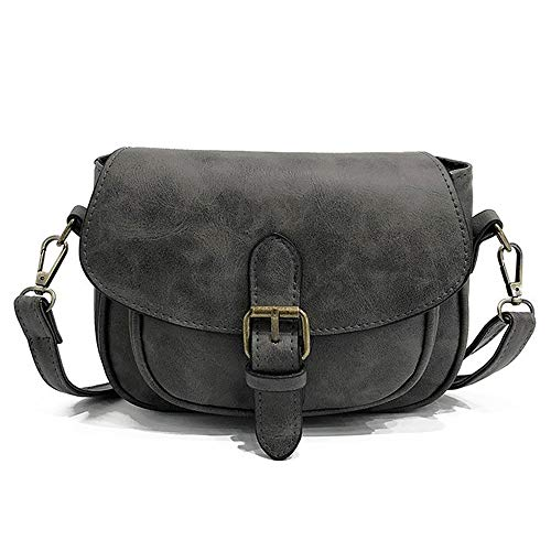 - Women Small Vintage Satchel Crossbody Bag PU Leather Saddle Shoulder Purse Handbag (Grey)