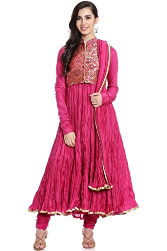 BIBA Women's Anarkali Cotton Silk Suit Set 36 Pink by Biba