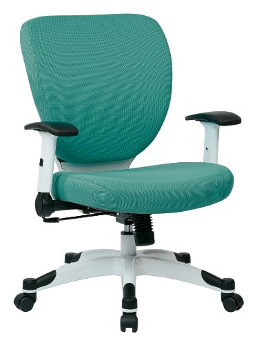 SPACE Seating Professional Deluxe Padded Mesh Seat and Back, 2-to-1 Synchro, Adjustable Arms and Tilt Tension with White…