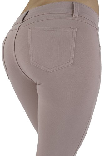 Basic pants skinny leg French Terry Jeggings style Moleton, With a gentle butt lifting stitching in Sphinx Size L