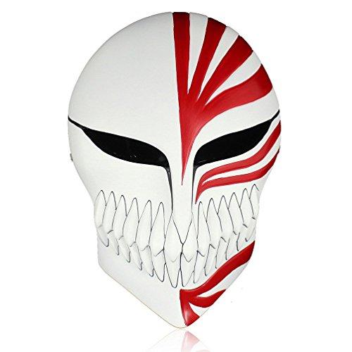 K.N.-fashion JP K.N. Anime Bleach Ichigo Kurosaki Halloween Mardi Gras Cosplay Resin Mask Masquerade (Red)