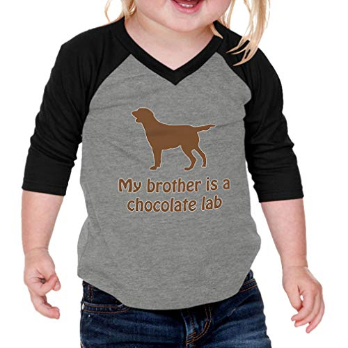 - My Brother is A Chocolate Lab Cotton/Polyester 3/4 Sleeve V-Neck Boys-Girls Infant Raglan T-Shirt Baseball Jersey - Gray Black, 6 Months