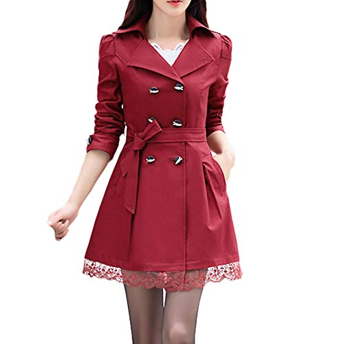 WOCACHI Womens Trench Coat Wool Blend Coats Bowknot Sashes Jacket Solid Outwear Winter Outerwear Warm Parka Cotton Padded Jackets Big (Wine Red, X-Large)
