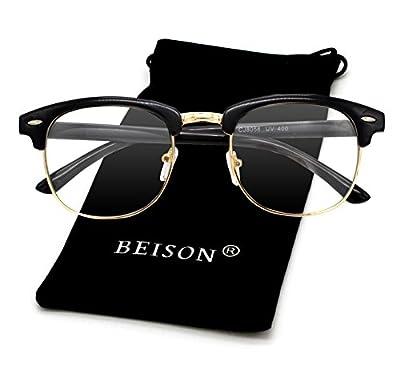 Beison Womens Mens Horned Rim Wayfarer Glasses Frame Nerd Eyeglasses