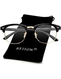 Womens Mens Horned Rim Wayfarer Glasses Frame Nerd...