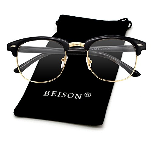 Beison Womens Mens Horned Rim Wayfarer Glasses Frame Nerd Eyeglasses (Shiny black / Gold, 50mm)