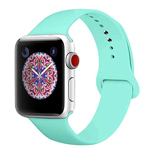 BMBEAR Sport Bands Compatible with Apple Watch 38mm 40mm Soft Silicone Band Replacement iWatch Strap for Apple Watch Series 4 Series 3 Series 2 Series 1 Mint Green S/M (Mint Watch)