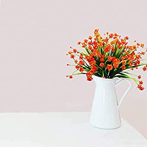 YOSICHY Artificial Fake Flowers, 4 Bundles Outdoor UV Resistant Greenery Shrubs Plants for Outside Hanging Planter Home Kitchen Office Wedding Garden Decor(Orange Red) 2