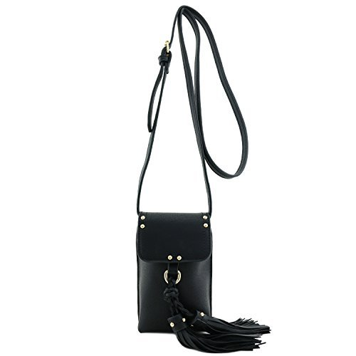 Cell Phone Pouch Crossbody Bag with Tassel Accent Black