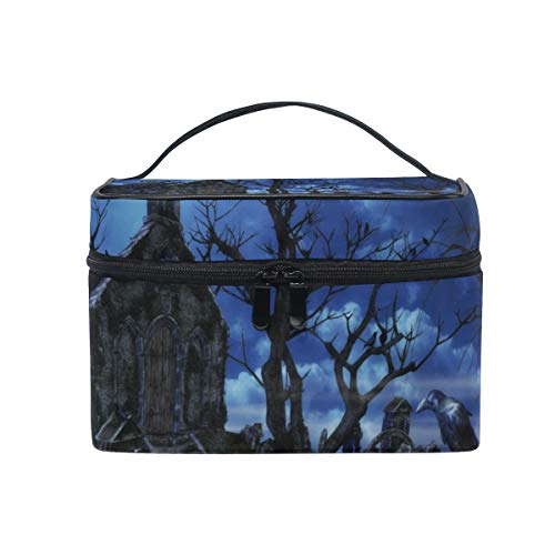 (Makeup Bags Organizer 3D Halloween Naked Tree Graves Large Travel Cosmetic Beauty Storage Toiletry Pouch for)