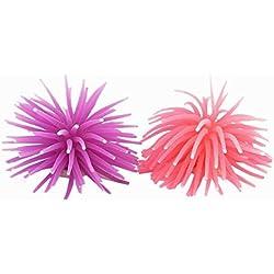 TOOGOO(R) Fish Tank Purple Pink Silicone Sea Anemone Artificial Coral Decor 2pcs