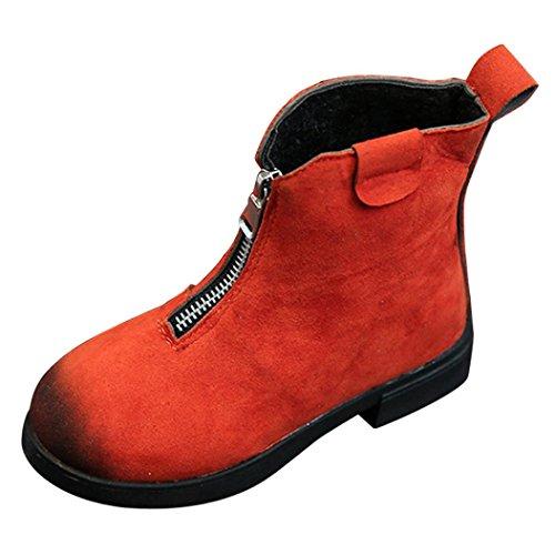 Jungen Mädchen Martin Sneaker Upxiang Retro Reißverschluss Stiefel Martin Stiefel Kinder Winter Dicke Schnee Stiefel Baby Freizeitschuhe Rot