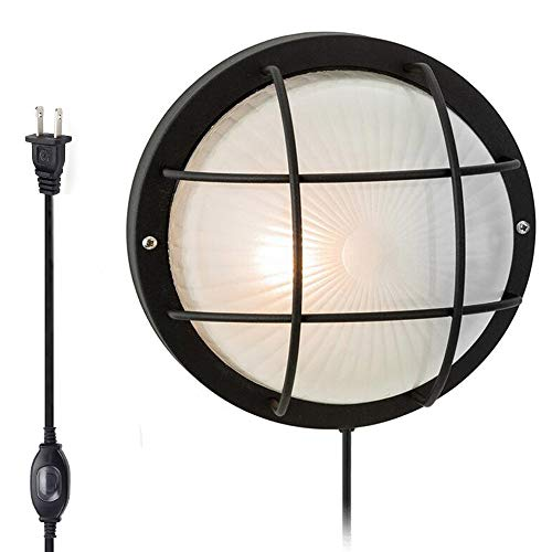Kiven Modern Black Outdoor Garden Security Round Bulkhead LED Plug-in Wall Light - IP44 Rated -LED Bulb No Supplied