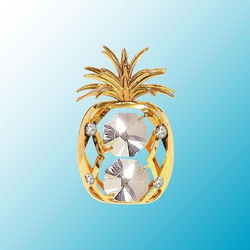 24k Gold Plated Pineapple - Sun Catcher or Magnet - Clear Swarovski Crystal -  Crystal Delight by Mascot, 2894