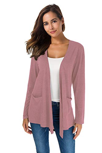 Women's Loose Casual Long Sleeved Open Front Breathable Cardigans with Pocket (Lilacs1, -